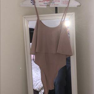 Tan ruffle bodysuit